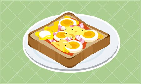 Pizza toast with boiled egg and bacon