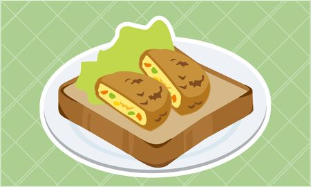 Croquette and lettuce toast  イラスト・ベクター素材