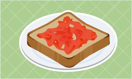Strawberry Jam Toast  イラスト・ベクター素材
