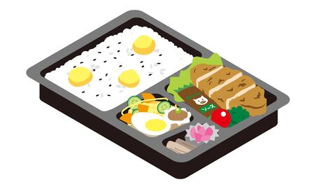 Lunch of pork cutlet and chestnut rice Illustration