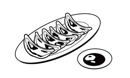The Dumplings on a plate 일러스트
