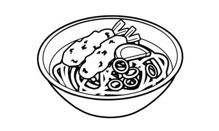 Japanese style warm shrimp tempura udon