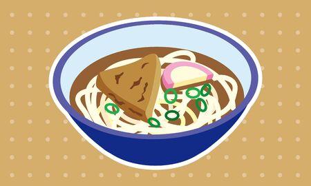 Japanese style warm hot Kitsune udon noodles