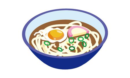 Japanese style warm Tsukimi udon 일러스트