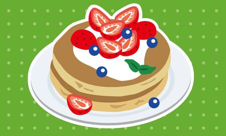 Strawberry and blueberry pancakes on a plate