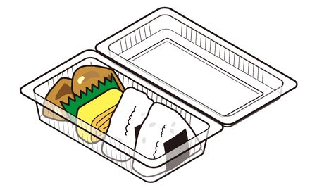 Rice ball lunch in a takeaway food pack