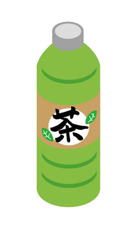 Illustration of Japanese barley tea for plastic bottle beverage