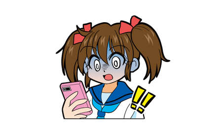 Cartoon of a Japanese girl in uniform with twin tails operating a smartphone