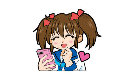 Cartoon of a Japanese girl in uniform with twin tails operating a smartphone Vektorové ilustrace