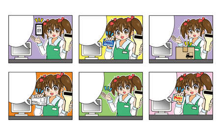 Girl with twin tail hair working part-time at a convenience store