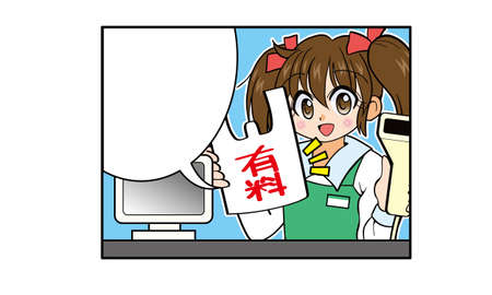 Girl with twin tail hair working part-time at a convenience store(The shopping bag is charged)