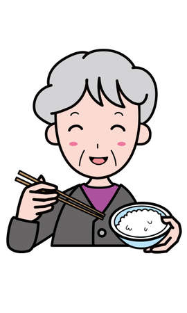 Granny eating rice with a smile