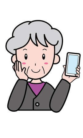 Grandmother holding a mobile phone