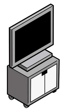 LCD TV on a TV stand 矢量图像