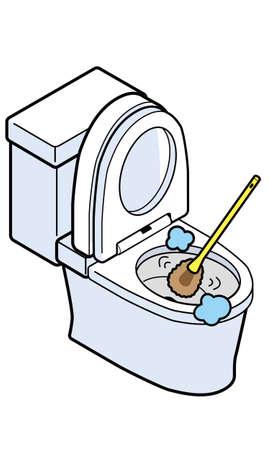 Western toilet being cleaned with a brush Vektoros illusztráció