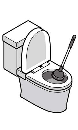 Western toilet and rubber cup Illustration