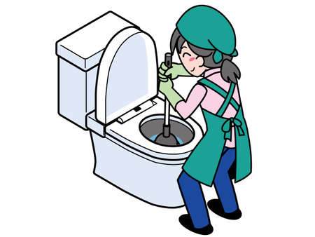 A woman who repairs a clogged toilet with a rubber cup Illustration