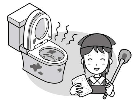 A woman with a badly-cleaned Western-style toilet and a smiling cleaner