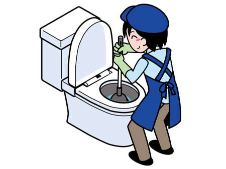 Contractor repairing a clogged toilet with a rubber cup Illustration