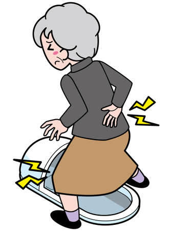 An old woman whose knees and waist are painful when crossing a Japanese-style toilet