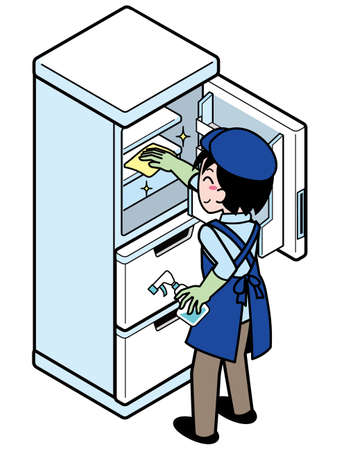 A young man who wipes the inside of the refrigerator