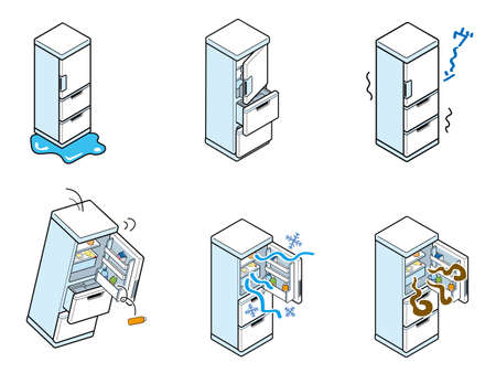 Illustration set of troubles in household refrigerators (noise)