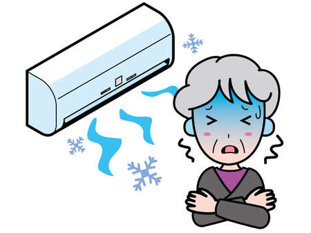 An old woman who is in trouble with a cold air conditioner because it works too much.
