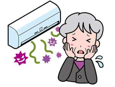 An old woman who is having trouble with an air conditioner where germs come out