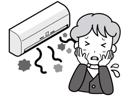 An old woman who is having trouble with an air conditioner that produces dust
