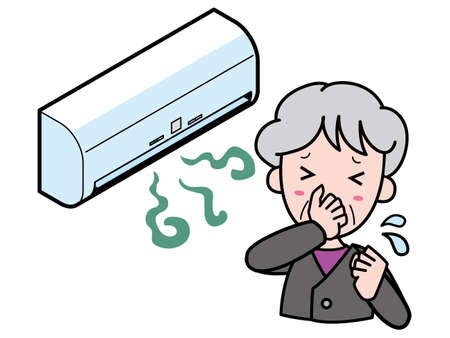 An old woman who is having trouble with an air conditioner that smells bad