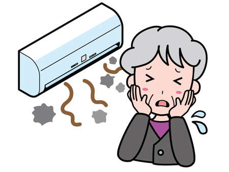 An old woman who is having trouble with an air conditioner that produces dust Иллюстрация