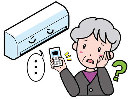 An old woman who is having trouble with an air conditioner that does not work because the remote control does not work