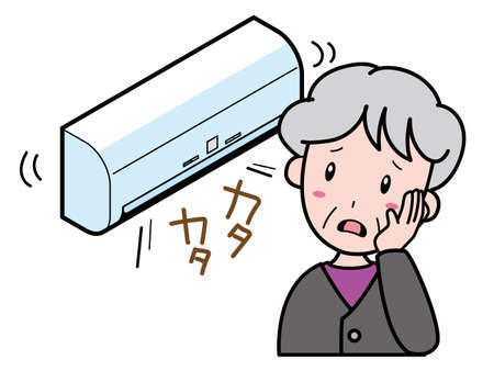 An old woman who is having trouble with an air conditioner that makes a strange noise 向量圖像