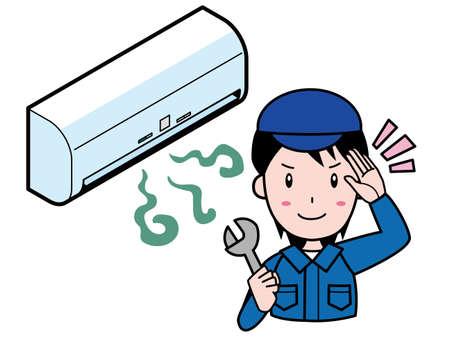 man repairs the stinking air conditioner