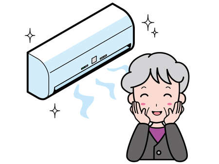 Grandmother pleased with the beautiful air conditioner