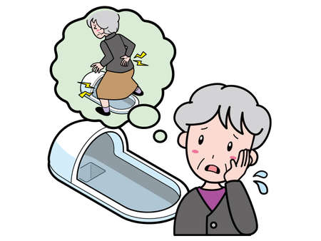 An old woman who is worried about back and leg pain in a Japanese style toilet