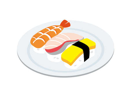 Japanese sushi served on a plate (shrimp, yellowtail, eggs) 일러스트