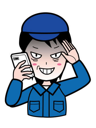 A man in suspicious work clothes talking on a mobile phone 向量圖像