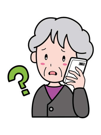 An old woman who is suspicious of a suspicious incoming call to a mobile phone 版權商用圖片 - 156402348