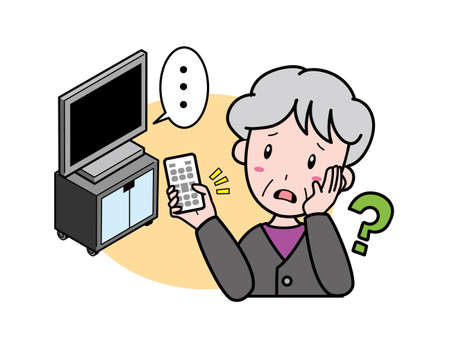 Grandmother who is in trouble because the remote control does not work and the TV does not move