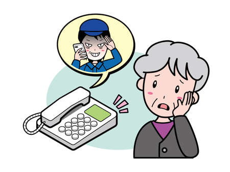 An old woman suspicious of a suspicious call to her home phone 向量圖像