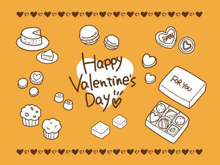 Valentine's Day hand-drawn illustration set (one color)