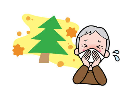 Grandfather blowing his nose with hay fever