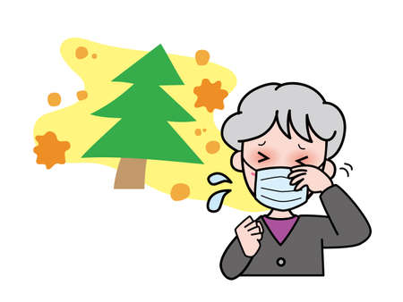 Grandmother with itchy eyes due to hay fever Vecteurs