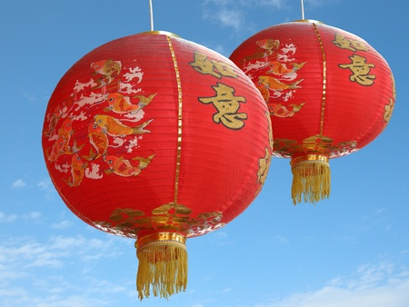 red chinese paper lantern on blue sky background Stock Photo - 9141784