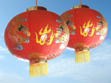 red chinese paper lantern on blue sky background Stock Photo - 9141812