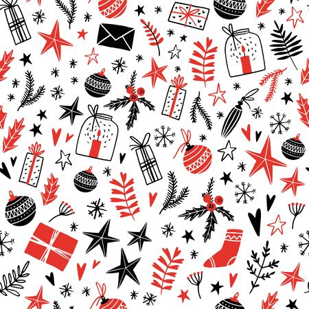 Merry Christmas and Happy New Year Hand Drawn Seamless Pattern with White Background. Vector illustration. Doodle style. Ornaments, snowflakes, presents. Winter holiday card, poster, invitation.  イラスト・ベクター素材