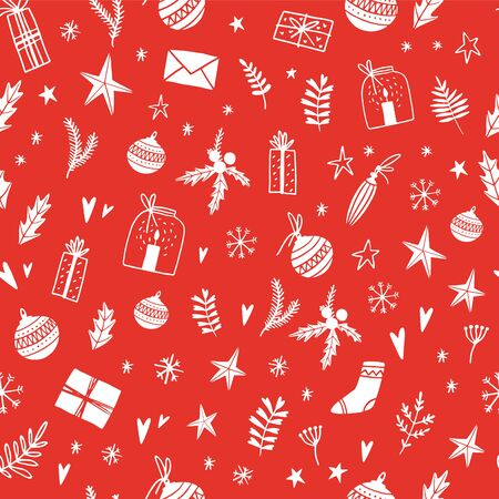 Merry Christmas and Happy New Year Hand Drawn Seamless Pattern with Red Background. Vector illustration. Doodle style. Ornaments, snowflakes, presents. Winter holiday card, poster, invitation.  イラスト・ベクター素材