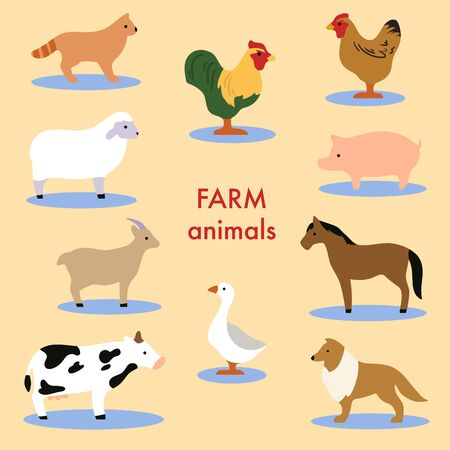 Collection of farm animals and domestic birds. Set of cute cartoon isolated characters and icons. Horse, sheep, cow. Vector illustration in flat style.