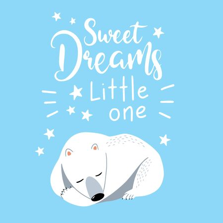 Cartoon polar bear illustration. White bear, arctic wild animal, snow polar character. Isolated vector card with quote sweet dreams little one. Can be used for, birthday, party invitation, poster